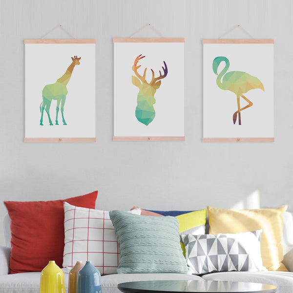 Abstract Geometric Deer Horse Head Butterfly Dolphin Framed Canvas Paintin Modern Nordic Home Deco Wall Art Print Picture Poster