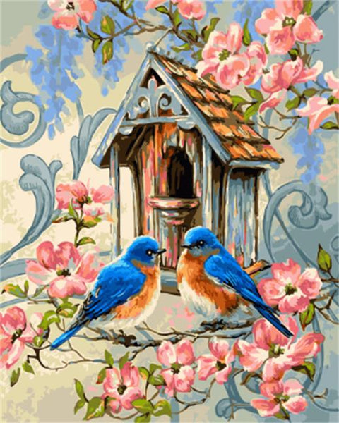 DRAWJOY Framed Oil Paint DIY Painting By Numbers Coloring By Numbers Bird and Flower Home Decoration 40*50cm