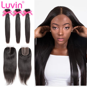 Luvin Cheap Brazilian Hair Weave Bundles Straight Hair Human Hair 3 4 Bundles With Closure 4x4 Lace Closure Remy Hair Extension