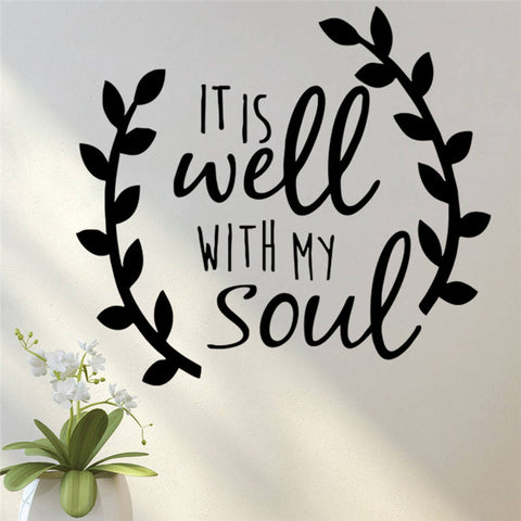 It is well with my soul quotes vinyl wall sticke Car Stickers Decal God faith Jesus salvation hope decor bedroom decorative word