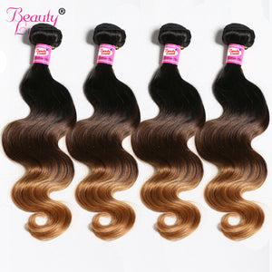 Malaysian Body Wave 4 Bundles Deal Ombre Hair Bundles 100% Human Hair Weave Bundles 1b/4/30 Non Remy Beauty Lueen Hair Weaving