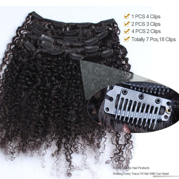 3B 3C Kinky Curly Clip In Human Hair Extensions Mongolian Prosa Nautral Color Clip-in Full Head 7 Pcs Remy Hair 120G