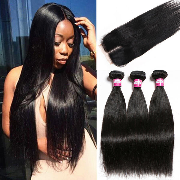 Peruvian Straight Hair Bundles With Closure Human Hair 3 Bundles With Closure Middle Part 4 Bundle Deals Non Remy Free Shipping