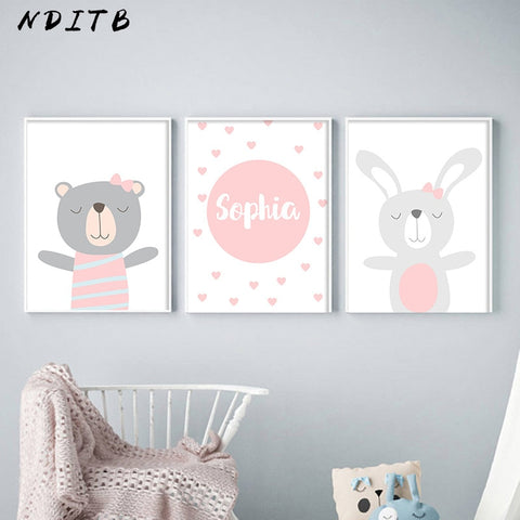 Cartoon Animal Canvas Painting Nursery Prints Personal Name Custom Poster Wall Picture