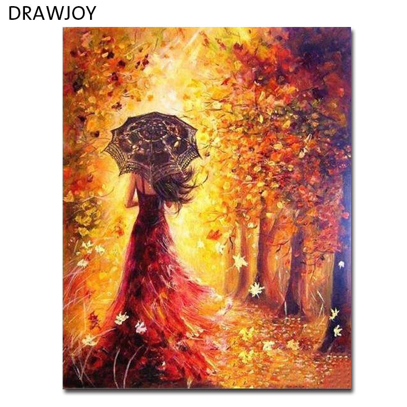 DIY Framed Pictures Painting By Numbers Of Beauty Lady DIY Canvas Oil Painting Home Decor For Living Room GX5582 40*50cm
