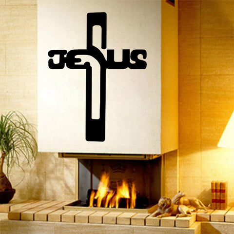 Christian Jesus Cross Art home decor vinyl Wall sticker Wallpaper wall decals