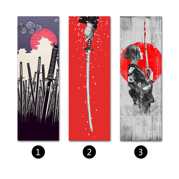 Japanese Samurai Scroll Painting Canvas Print Poster with Wooden Hanger Wall Art Living Room Bedroom Home Decoration