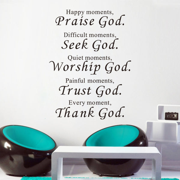Thank God christian quote wall decal for home waterproofing home wall sticker home decor