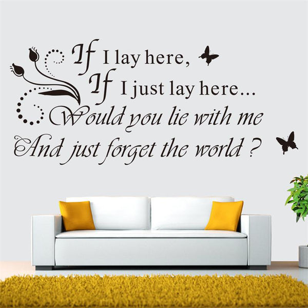 IF I LAY HERE SNOW PATROL Wall Art Sticker, Decal, MUSIC WORDS QUOTES STICKERS BEDROOM MURAL