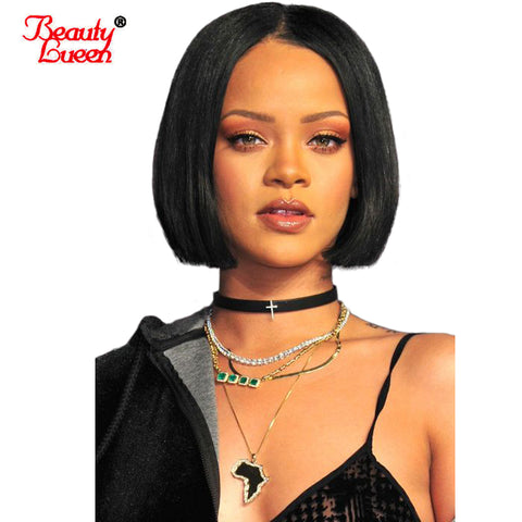 Short Bob Wigs Brazilian Remy Hair Straight Lace Front Human Hair Wigs For Black Women Pre Plucked 1B And Light Brown Color
