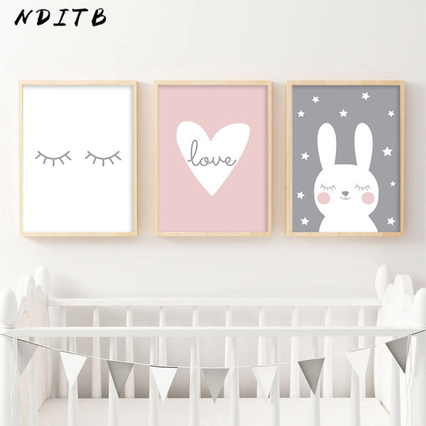 Rabbit Heart Nursery Wall Art Canvas Painting Cartoon Posters and Prints Decorative
