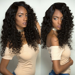 Glueless Bob Lace Front Human Hair Wigs Loose Wave Peruvian Remy Hair Lace Frontal Wigs For Black Women With Baby Hair