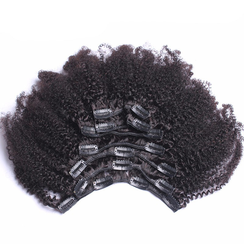 Clip In Human Hair Extensions 4B 4C Mongolian Afro Kinky Curly Clip Ins Remy Human Hair Full Head 7Pcs Prosa Hair Products