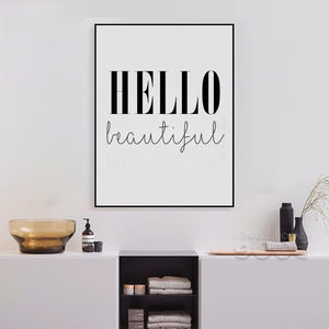 Hello Beautiful Quote Canvas Art Print Poster, Simple Style Wall Pictures for Home Decoration, Wall Decor YE134