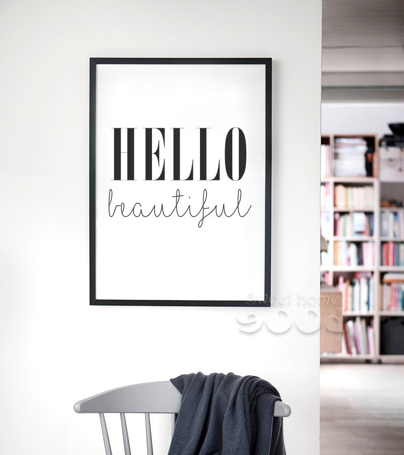 Hello Beautiful Quote Canvas Art Print Poster, Simple ...