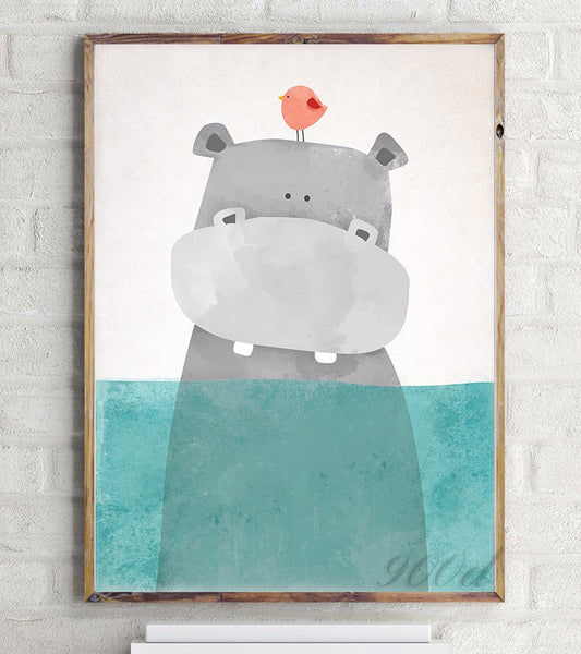 Cartoon Cute Hippo Canvas Art Print Painting Poster,  Wall Picture for Home Decoration,  Wall Decor FA400-2
