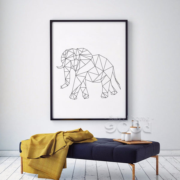 Geometric Elephant Canvas Art Print Painting Poster, Wall Pictures for Home Decoration, Wall Art decor FA221-13