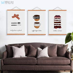 Vintage Food Coffee Nordic Kitchen Wooden Framed Canvas Painting Cafe Home Decor Scroll Wall Art Dessert Pictures Posters Hanger