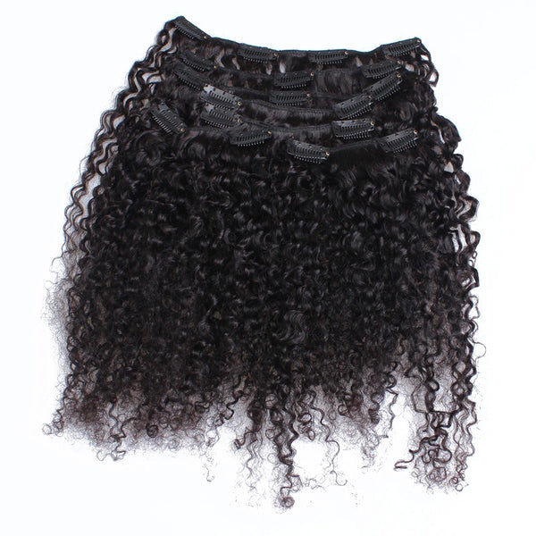 3B 3C Kinky Curly Clip In Human Hair Extensions Brazilian Clip-Ins Full Head 7 Pcs/Set 120G Remy Hair Prosa Nautral Color
