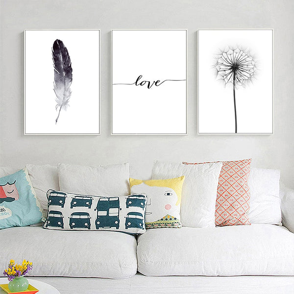Black and White Dandelion Feathers Poster and Print Letter Love Wall Art Canvas Painting