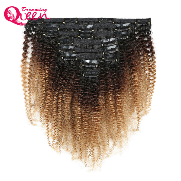 1B /4/27  Afro Kinky Curly Clip In Human Hair Extensions 8 Pcs/Set Clips 4B 4C Mongolian Ombre Human Hair Dreaming Queen Remy