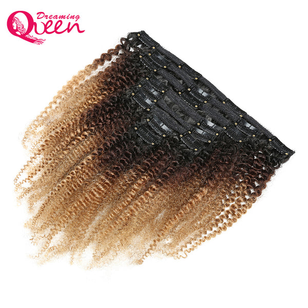4B 4C Mongolian Afro Kinky Curly Clip In Human Hair Extensions 8 Pcs/Set Clips 100% Human Natural Hair Dreaming Queen Remy Hair