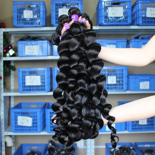 "3 loose Wave Bundles Deals Brazilian Virgin Hair Extensions 10-28"" Natural Color Human Hair Weaving Prosa Hair Products"