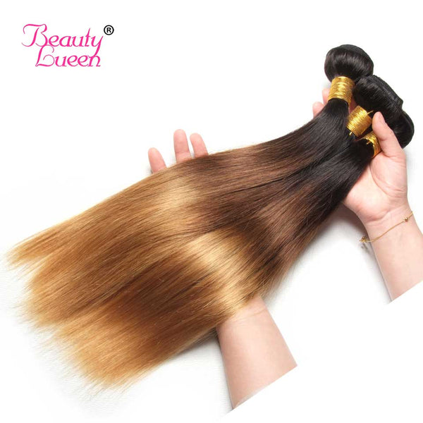 Ombre Brazilian Straight Hair Weave 3 Bundles With Closure T1B/4/27 3 Tone Honey Blond Ombre Human Hair With Closure Remy Hair
