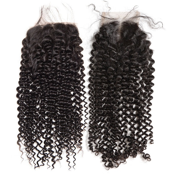 Luvin Brazilian Hair Weave Afro Kinky Curly Human Hair 3 4 Bundles With Lace Closure Bleached Knots Remy Hair Extension