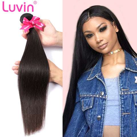 Luvin Brazilian Hair Weave Bundles Unprocessed Virgin Hair Weave Natrual Straight Human Hair Extensions 30 Inch Bundles 1 3 4Pcs