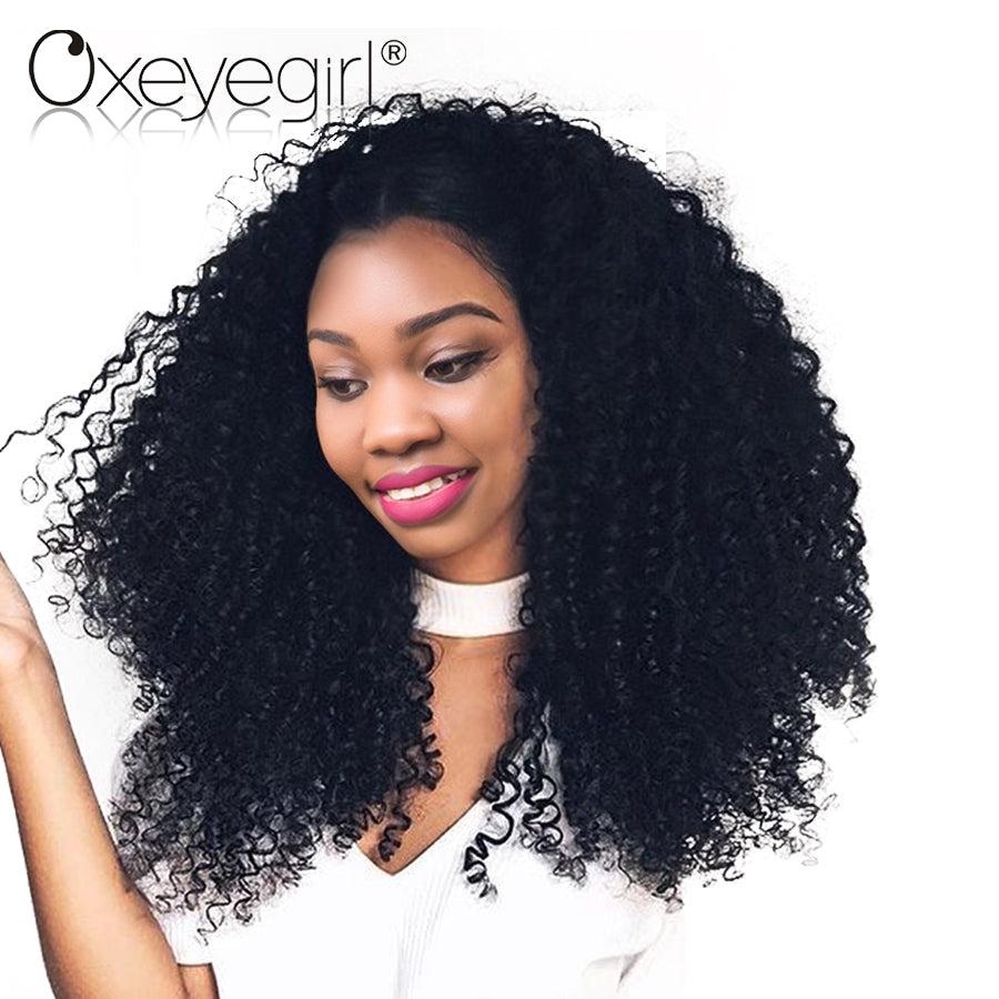 Oxeyegirl Afro Kinky Curly Hair Bundles 100% Human Hair Bundles Malaysian Curly Hair Weave Natural Color NonRemy Hair Extensions
