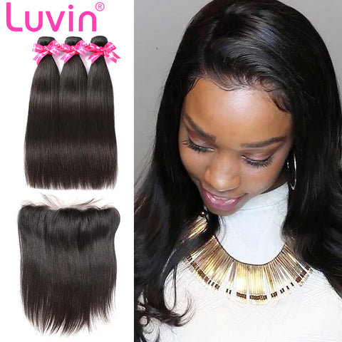 Luvin Straight Human Hair Bundles Remy Hair Extension 4 Bundles With Closure Brazilian Hair Weave 3 Bundles With Lace Frontal