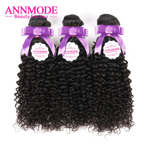 Annmode Afro Kinky Curly Hair 1/3/4 pc Natural Color 8-28inch Brazilian Hair Weave Bundles Non Remy Human Hair Free Shipping