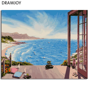 DRAWJOY Framed Home Decor Picture Painting By Numbers Seascape DIY Canvas Oil Painting Wall Art For Living Room Picture