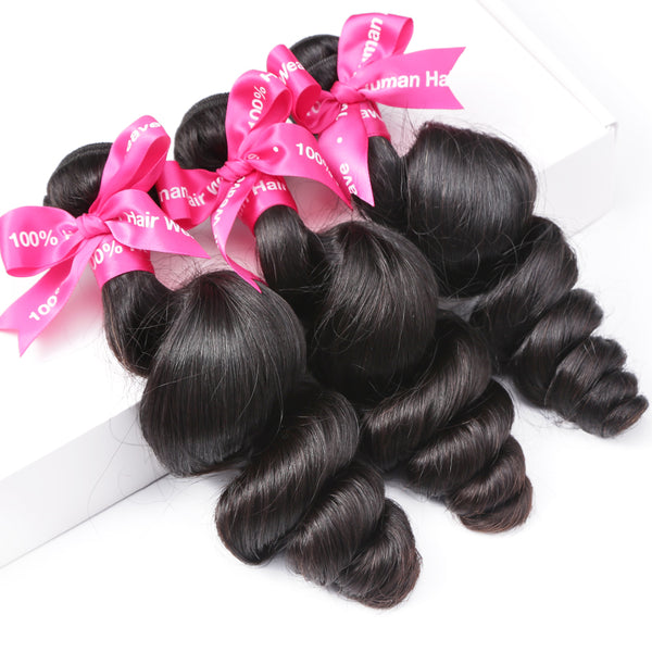 Luvin Peruvian Virgin Hair Loose Wave 100% Human Hair Weave Bundles Unprocessed Hair Weaving Extension 30 Inch 1 3 4 Bundles