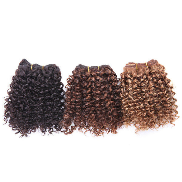 3 Bundles Bohemian Style Short Afro Kinky Curly Hair Wefts 8 Inches Ombre Blended Hair Weaves