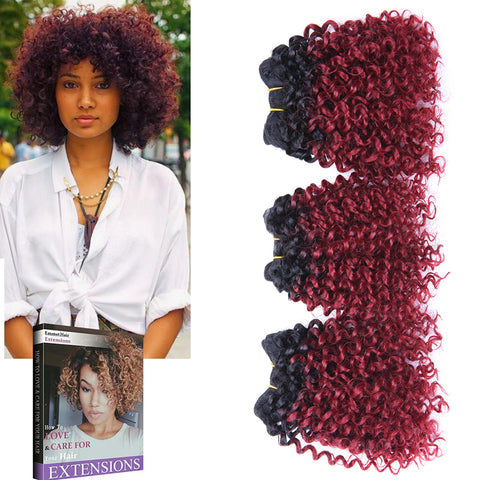 3 Bundles 8Inches Short Afro Kinky Curly Hair Extensions Blended Hair Weaves Ombre Hair Wefts