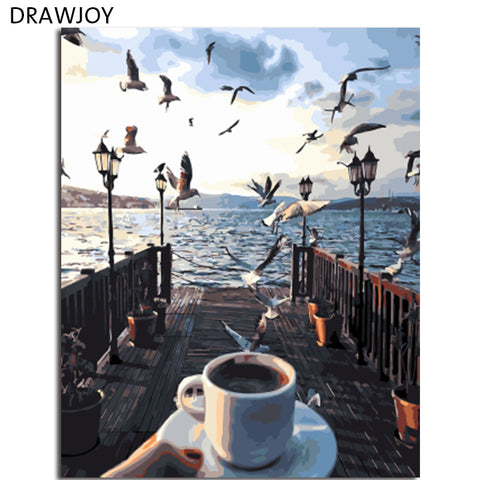 DRAWJOY Framed Seascape DIY Painting By Numbers On Canvas Acrylic Painting Wall Art For Living Room For Home Decor 40x50