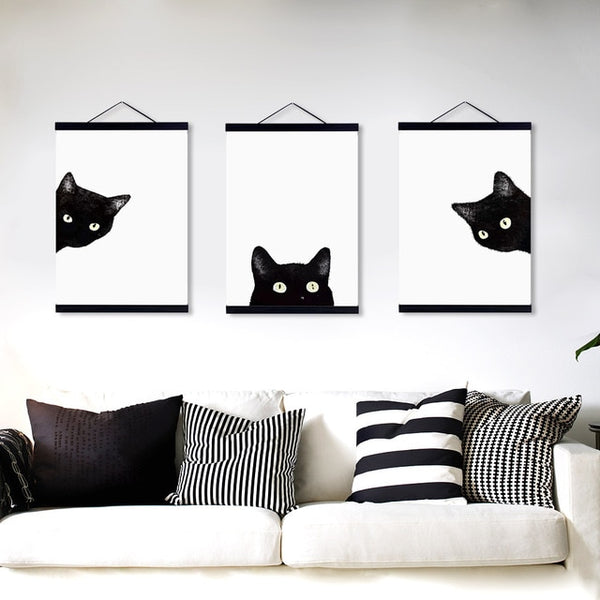 3 Panel Watercolor Black Cat Wooden Framed Canvas Painting Nordic Girl Room Home Decor Big Scroll Wall Art Picture Poster Hanger