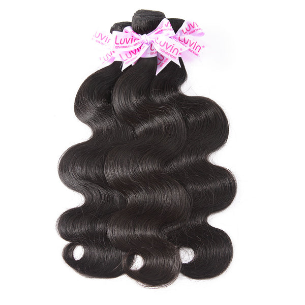 Luvin Brazilian Hair Weave Bundles 100% Human Hair Body Wave Remy Weft Hair Extensions Natural Color Mink Wavy 30 Inch Bundles