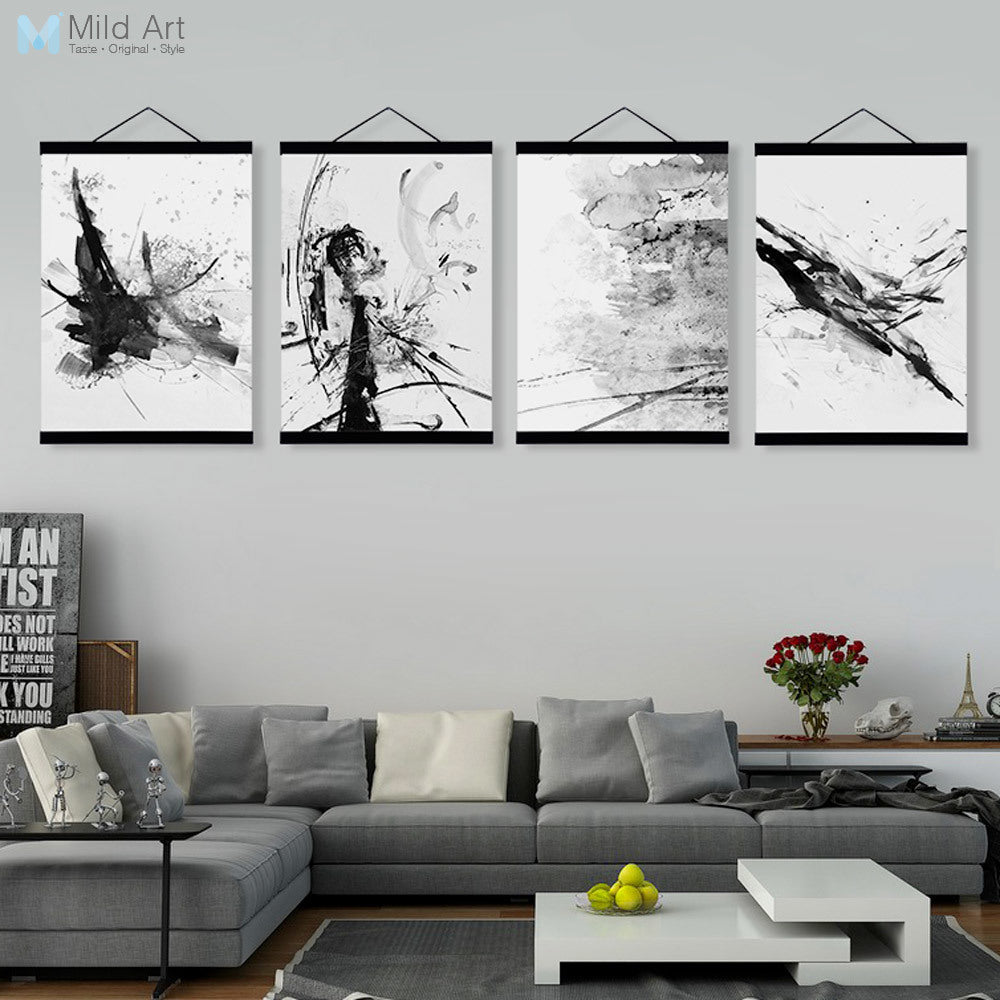 Abstract Chinese Ink Splash Wooden Framed Canvas Paintings Modern Vintage Living Room Decor Wall Art Print Picture Poster Scroll