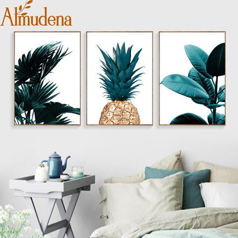 Nordic Pineapple Green Leaves Canvas Painting Wall Art Poster Home Decoration Posters