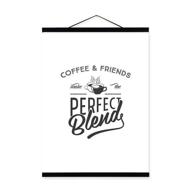 Black White Vintage Retro Coffee Quotes Wooden Framed Canvas Paintings Nordic Scroll Wall Art Pictures Home Decor Posters Hanger