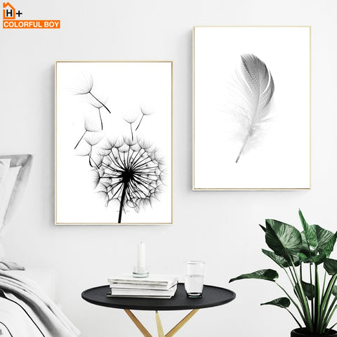 COLORFULBOY Posters And Prints Wall Art Canvas Painting Dandelion Feather Nordic