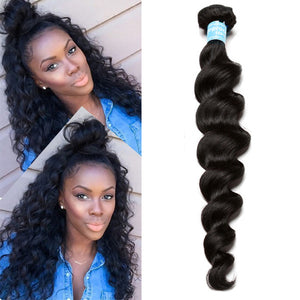 Loose Wave Bundles Virgin Brazilian Hair Weave Bundles 100% Human Hair Bundle Extension Natural Black Prosa Hair Products