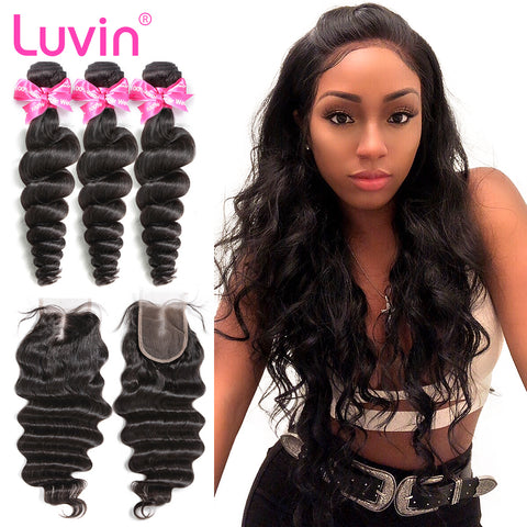 Luvin Brazilian Hair Weave 3 4 Bundles With Closure Loose Wave 100% Remy Human Hair Lace Closure Bleached Knots Free Shipping