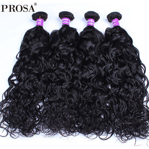 4 Bundles Water Wave Brazilian Virgin Hair 100% Human Hair Extensions Natural Color Human Hair Weaving Hair Products Prosa