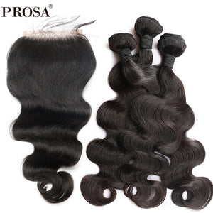 Body Wave Human Hair Bundles With  Closure Peruvian Hair Bundles With Closures Bleached knots Prosa Hair Products Remy