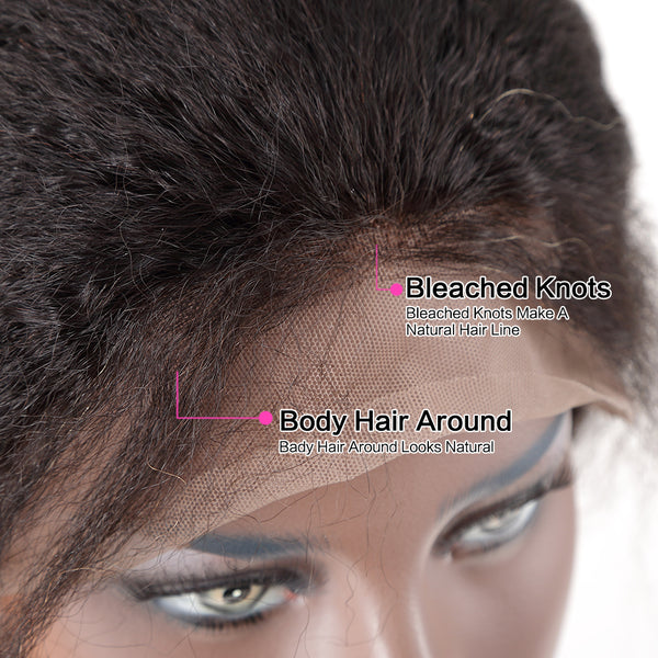 Luvin Glueless Short Bob Lace Front Human Hair Wigs Kinky Straight Brazilian Remy Hair Lace Frontal Wigs For Black Women