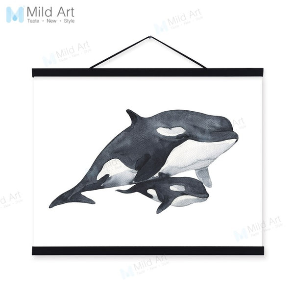 Watercolor Sea Animal Whale Mother Child Wooden Framed Painting And Print Nordic Scroll Wall Art Pictures Decor Canvas Poster